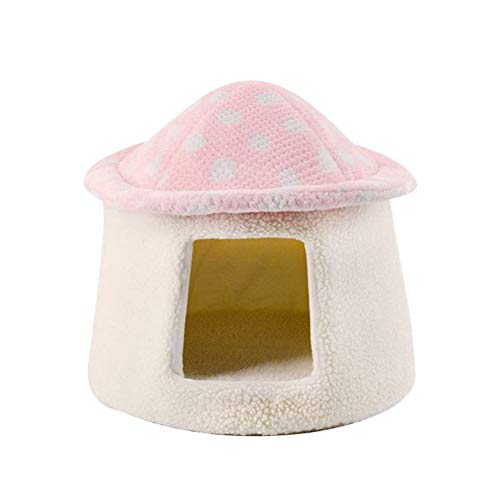 KONFA Newest Pet Cat Dog Bed House Cave,Autumn Winter Warm Plush Semi-Closed Bed with Non-Slip Bottom for Cats,Small Dogs,Pink