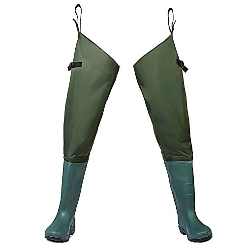 Toandon Mens Hip Waders Fishing Lightweight Waterproof Bootfoot Hip Boots with Cleated Outsole for Women Man (Army Green,Size 10)