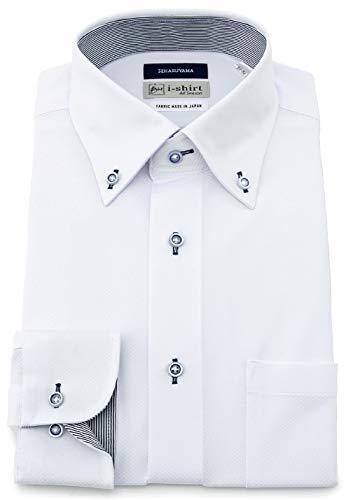[アイシャツ] i-shirt 完全ノーアイロン ストレッチ 超速乾 レギュラーフィット 長袖 アイシャツ ワイシャツ メンズ ホワイト 清涼生地 新レギュラーフィット 長袖ボタンダウン チェック M151200017 日本 M80(首回り39cm×裄丈80cm) (日本サイズM相当)