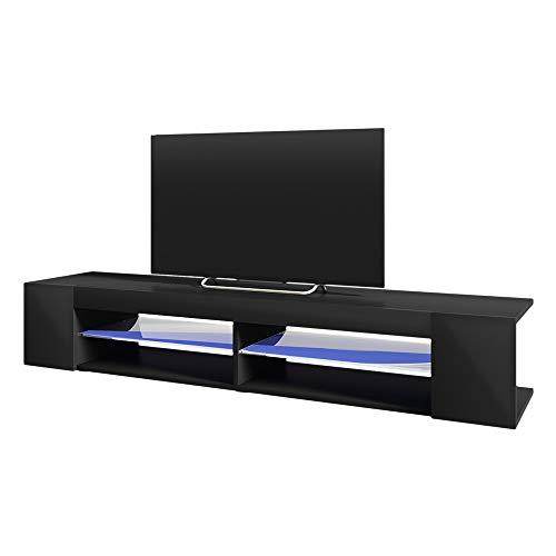 Selsey MITCHELL - Mobile TV Moderno/Porta TV per Soggiorno/Tavolino TV con LED / 180 cm/Nero Opaco Nero Lucido