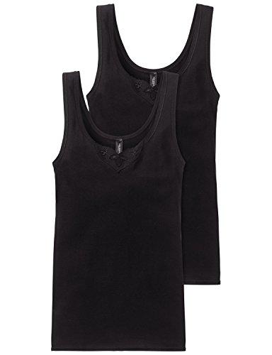 Schiesser Damen Trägertop (2er Pack) Unterhemd, Schwarz (schwarz 000), 50 (Herstellergröße: 050)