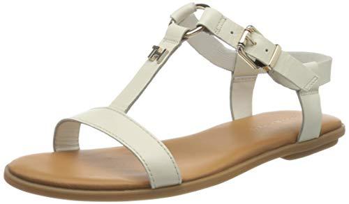 Tommy Hilfiger Damen Feminine Leather Flat Sandal Zehentrenner, Weiß (Ivory Ybi), 40 EU