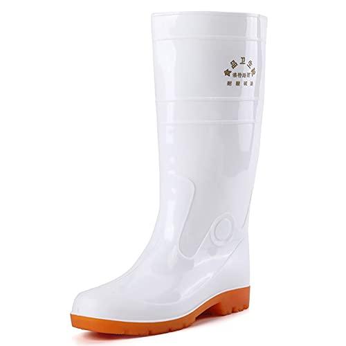 Botas de lluvia altas para hombre, impermeables, antideslizantes, de PVC, color blanco, con forro de malla transpirable para trabajo, caminar, construcción, blanco, 42
