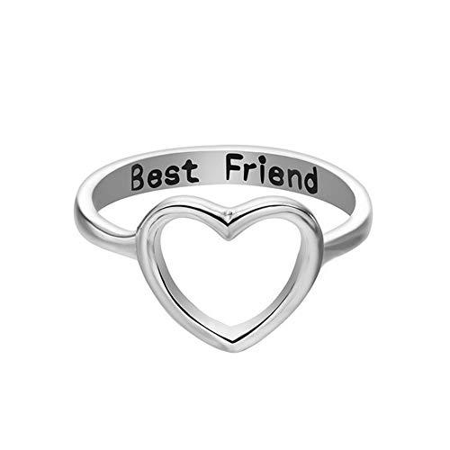 LAMEIDA Anillo de la Forma del corazón del Amor de la Manera del Anillo para el Regalo de cumpleaños de los Accesorios de la joyería del Mejor Amigo Size 1.8cm (Plata)