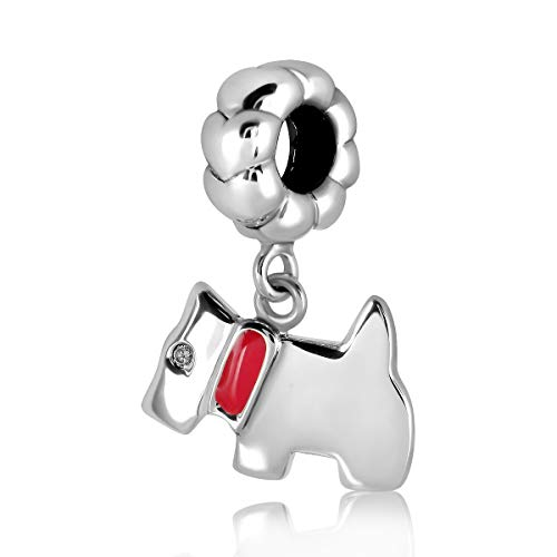 WithLoveSilver - Anillo de plata de ley 925, diseño de corazones, diseño de perro con esmalte y collar rosa