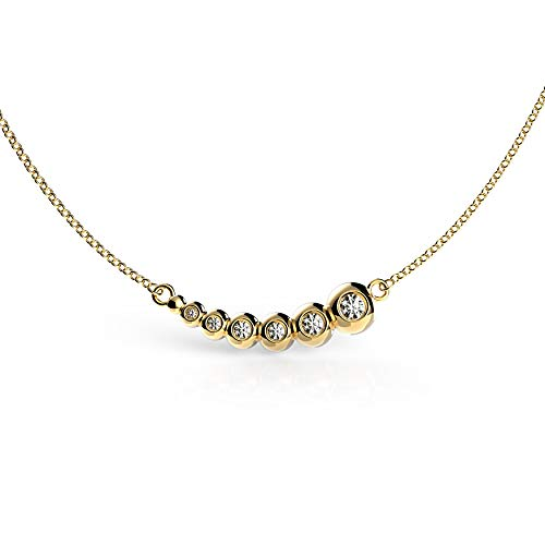 Belle Queen 'Basic Collection' - Conjunto de Círculos con Circonita Transparente en Disminucion de Plata de Ley Bañada en Oro