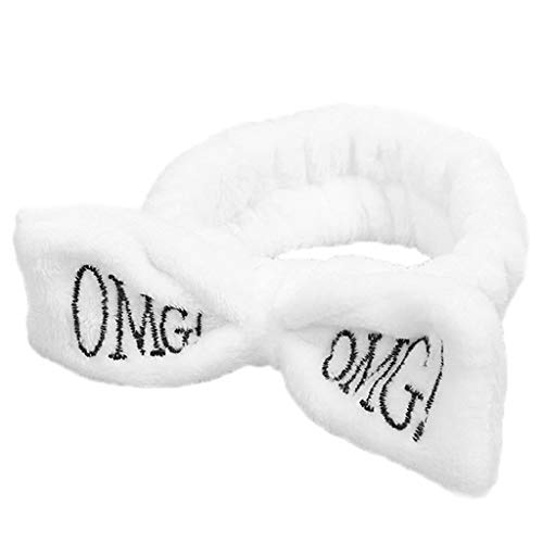 MEIYIN Cute Bowknot OMG Letters Embroidered SPA Headband Elastic Makeup Flannel Turban Candy Color Hairband