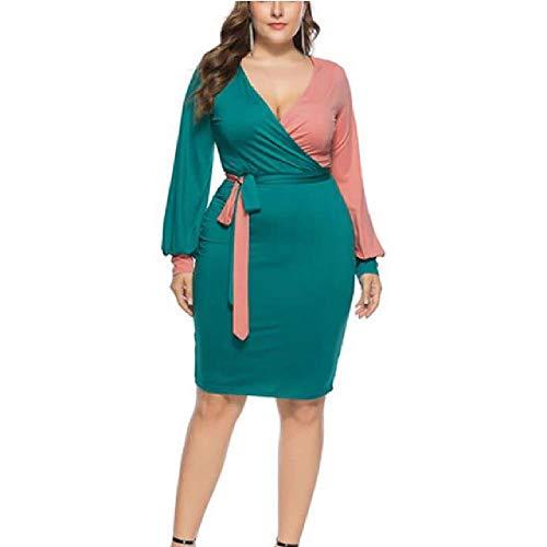 LILIZHAN Vrouwen Mode Sashes Sexy Office Lady Werk Jurk Lange Mouw Diepe V hals Contrast Kleur Shirt Jurk Winter Vrouwen Jurk