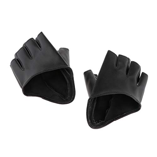 sharprepublic Halb Palm Fingerlos Lederhandschuhe Damen Autofahrer Motorrad Handschuhe Fahrhandschuhe Sporthandschuhe - Schwarz