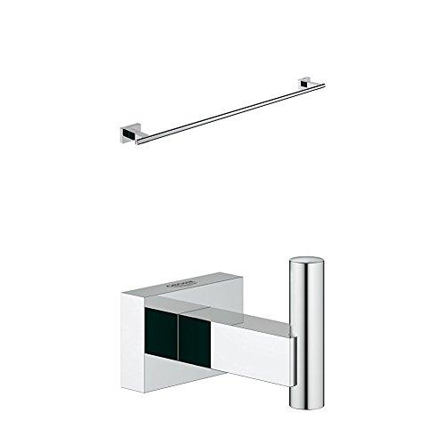 Grohe Badetuchhalter, 1 Stück, 40509001 + GROHE Essentials Cube | Badaccessoires - Handtuchhaken | silber | 40511001