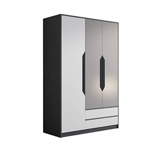 ChengBeautiful Armarios Armario Hogar Dormitorio Moderno Minimalista Pequeño Apartamento Simple Locker Locker Armario de Tres Puertas (Color : Black, Size : 200x55x120cm)