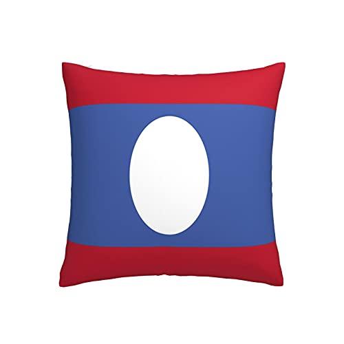 Kissenbezug mit Flagge von Laos, quadratisch, dekorativer Kissenbezug für Sofa, Couch, Zuhause, Schlafzimmer, Indoor Outdoor, niedlicher Kissenbezug 45,7 x 45,7 cm