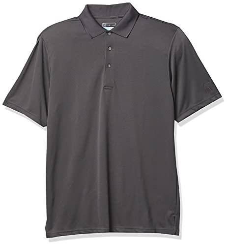 PGA TOUR Men's Short Sleeve Airflux Solid Performance Polo, Asphalt, XL