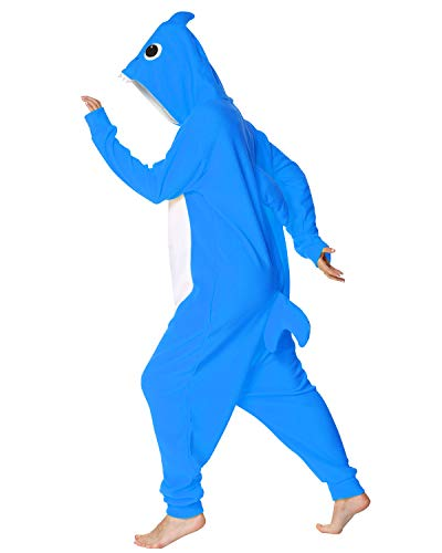 Markest Onesie Unisex Adult Pajamas Animal Blue Shark Cosplay Costume Sleepwear,L