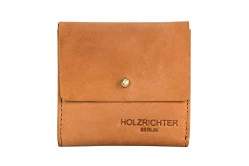 HOLZRICHTER Berlin Geldbörse No 4-5 (S) Camel - Edles Damen Mini Knopf Portemonnaie handgefertigt aus Premium-Leder