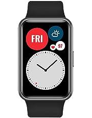 """HUAWEI WATCH FIT Smartwatch med nätt design, 1.64"""" AMOLED Display, 10 Dagars Batteritid, 96 Träningslägen, Inbyggd GPS, 5ATM Vattentålig, SpO2-mätning dygnet runt, Pulsmätning, Sömnövervakning, Svart"""