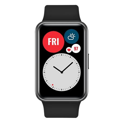 """HUAWEI Watch FIT - Smartwatch con Cuerpo de Metal, Pantalla AMOLED de 1,64"""", hasta 10 días de batería, 96 Modos de Entrenamiento, GPS Incorporado, 5ATM, Color Negro"""