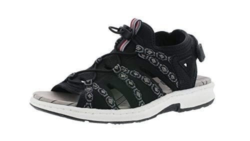 Rieker 67770 Damen Trekking Sandalen,Outdoor-Sandale,Sport-Sandale,Sommerschuh,schwarz/schwarz-grau/00,39 EU / 6 UK