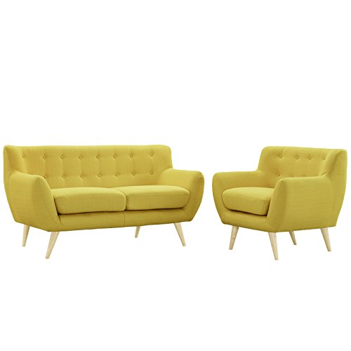 Modway EEI-1783-SUN-SET Remark Mid-Century Modern Loveseat and Armchair Living Room Furniture with Upholstered Fabric Sunny