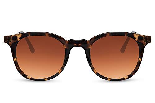 Cheapass Sunglasses - Gafas de sol de primera clase rectangulares clásicas en forma de tortuga con patillas de Metálicas dorado y lentes degradados marrones Protección UV400 Hombres Mujeres