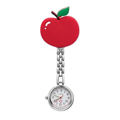 JSDDE Uhren Krankenschwesteruhr Silikon Cute Muster FOB Uhr Pflegeruhr Pulsuhr Ketteuhr Ansteckuhr Schwesternuhr mit Clip Analoge Quarzuhr Taschenuhr (Apfel)