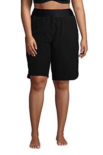 Lands' End Womens Comfort Waist 11in Swim Short Panty-New Black Regular 12
