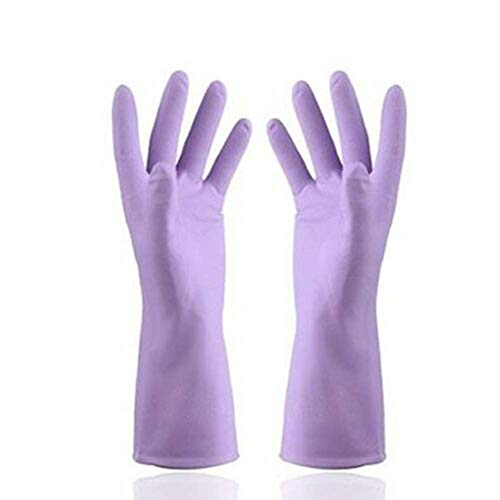Tincocen Schutz Handschuhe Hitze Wasserfest Gummi Handschuhe Wasserfest für BBQ Kochen Geschirrspülmittel - Lila, Medium