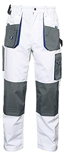 Emerton - Pantalones de Trabajo Estilo Cargo para Hombre - Resistentes - Blanco - 46