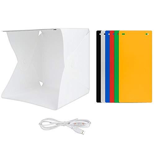 Opvouwbare Mini Studio Fotografie LED-lichtbak, Portable LED Photo Lamp Case Tent Kit met 6 kleurenachtergronden, Verstelbare Light Box voor accessoires/Speelgoed/nagels/Hardware/Knutselen/Gadgets