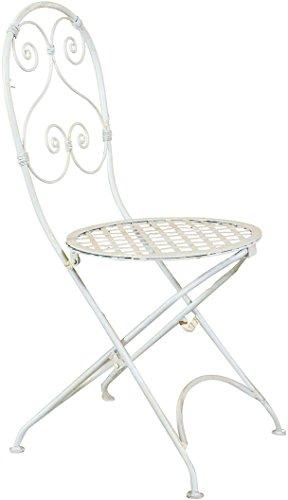 Biscottini Chaise Pliante Complet en Fer forgé Finition Blanche 40x45x94 cm