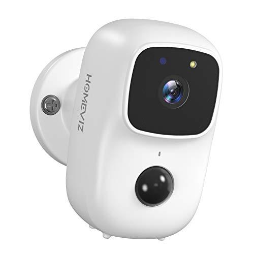 HOMEVIZ Caméra Surveillance Extérieure sur Batterie Rechargeable, Caméra 1080P WiFi Étanche avec Détection de Mouvement, PIR Vision Nocturne, Audio Bidirectionnel, Compatible avec Le Panneau Solaire