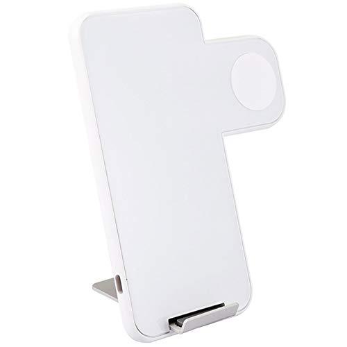 AXDNH Soporte de Cargador inalámbrico, Soporte de Cargador inalámbrico Portable 2In1 Qi Compatible con iPhone/iWatch Dock de Carga inalámbrica rápida,Blanco
