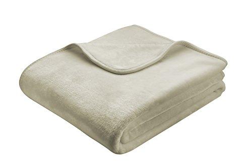 Biederlack Wohn- und Kuscheldecke, 85 % Polyacryl (Dralon), Veloursband-Einfassung, 150 x 200 cm, Sand, De Luxe, 643773