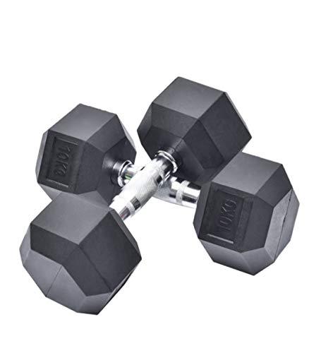 Generico Par de mancuernas hexagonales para gimnasio, casa, Body Building Weight Dumbbells, disponibles de 2,5 kg – 10 kg (se venden en pares) (10 kg x 2) x 20 kg en total*