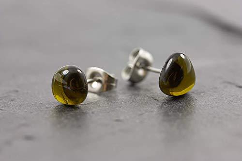 Ohrstecker mini Handmade antikgrün - jewelry for Future - Ohrring Geschenk Idee Edelstahl Glas Fair
