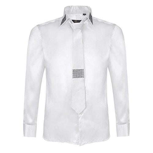 Robelli Herren lässig elegant Baumwolle/Satin langärmlig Hemd & Krawatte Satz Sammlung - weiß Nummer 2, Large