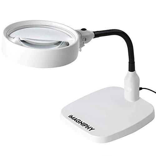 iMagniphy LED Magnifying Lamp: Desk Magnifying Glass with Light and Stand for Hands-Free Magnifying Work Light - Repairs, Crafts, Sewing, Reading - 8X Magnification, 6 LED Lights & Sturdy Desk Base