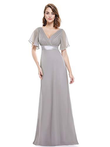 Ever-Pretty Womens Short Sleeve Empire Waist Military Bridesmaid Dress 6 US Gray