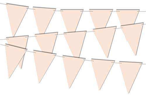 RPP 20 Pieces Pastel Pink Triangle Flags Garland Bunting Banner for Party Wedding Birthday Girl Christening Decoration with 10m string