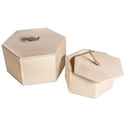 Rayher Hobby Set: Holz Box 6-Eck, FSC Mix Credit, braun, 1.6 x 1.4 x 0.82 cm