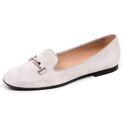 F6516 Ballerina Donna Light Grey Tod'S Scarpe Double T Suede Shoe Woman [40]