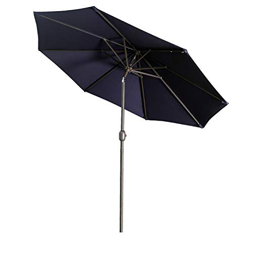 Aok Garden 9Ft Patio Outdoor Umbrella Market Table Fade-Resistant Umbrella with Push Button Tilt and Crank for Garden Backyard Deck,Update Navy Blue