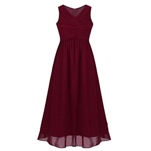 iEFiEL Kids Big Girls Juniors Sleeveless Chiffon Wedding Long Bridesmaid Party Flower Girl Dress Burgundy 12