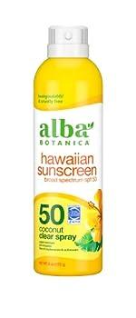 Alba Botanica Hawaiian Sunscreen Clear Spray SPF 50 Nourishing Coconut Clear 6 Fl Oz  Packaging May Vary