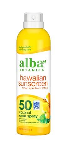 Alba Botanica Hawaiian Sunscreen Clear Spray, SPF 50, Nourishing Coconut, Clear, 6 Fl Oz (Packaging May Vary)