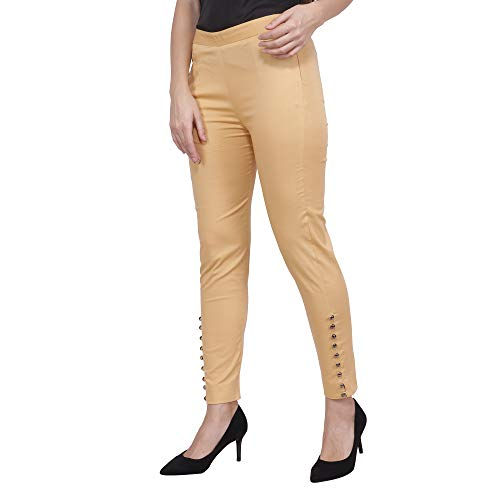 POPWINGS Casual Cotton Trousers for Women's, Golden Skin