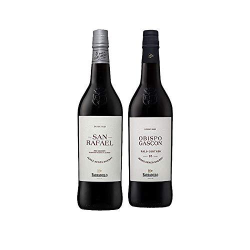 Vinos Medium San Rafael y Palo Cortado Obispo Gascon - D.O.Jerez-Sherry - Mezclanza Barbadillo (Pack de 2 botellas)