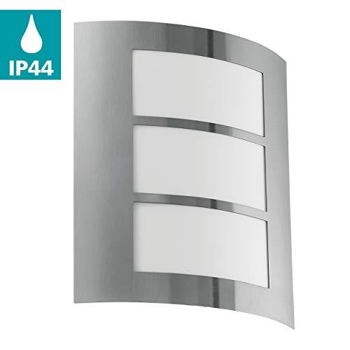 EGLO City buitenwandlamp, roestvrij staal, E27, 15 W, buitenverlichting (buitenwandlamp, roestvrij staal, IP33, ingang, tuin, binnenplaats, I)