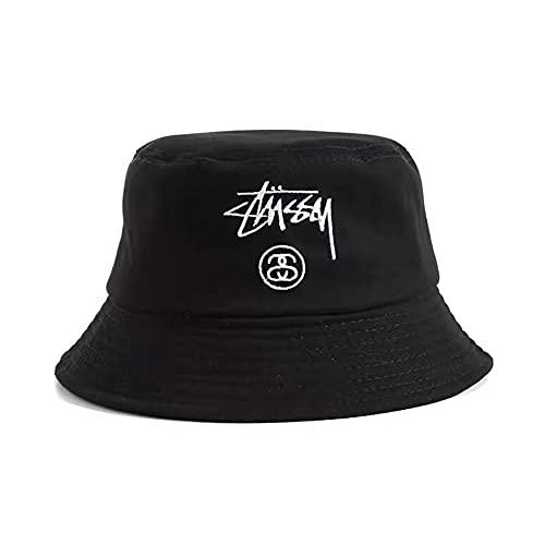 Shengyuantong Sombrero de Pescador Plegable, Sombrero de Pescador Bordado con Letras de Moda Simple, Adecuado para Exteriores, Sombrero para el Sol, Unisex 56-58cm (Negro)