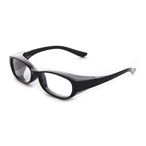 OuShiun Safety Goggles Protective Glasses Blue Light Blocking Eyeglasse Protection Anti Pollen Reading Glasses for Women Men (+3.50,Black)